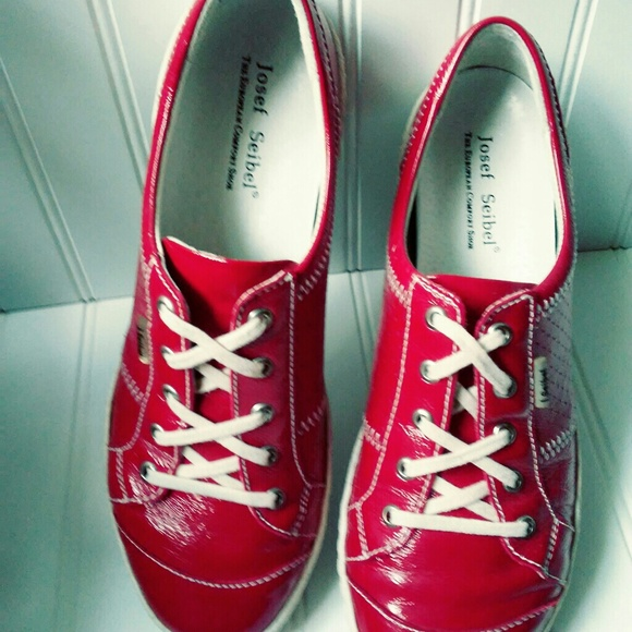 Josef Seibel Shoes - Josef Seibel Red Leather Sneakers